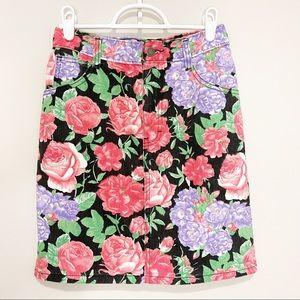 Vintage Mini Skirt Red Rose Floral Black Denim 90s